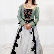 Robe Marie-Antoinette verte grise T. 36, 38, 40