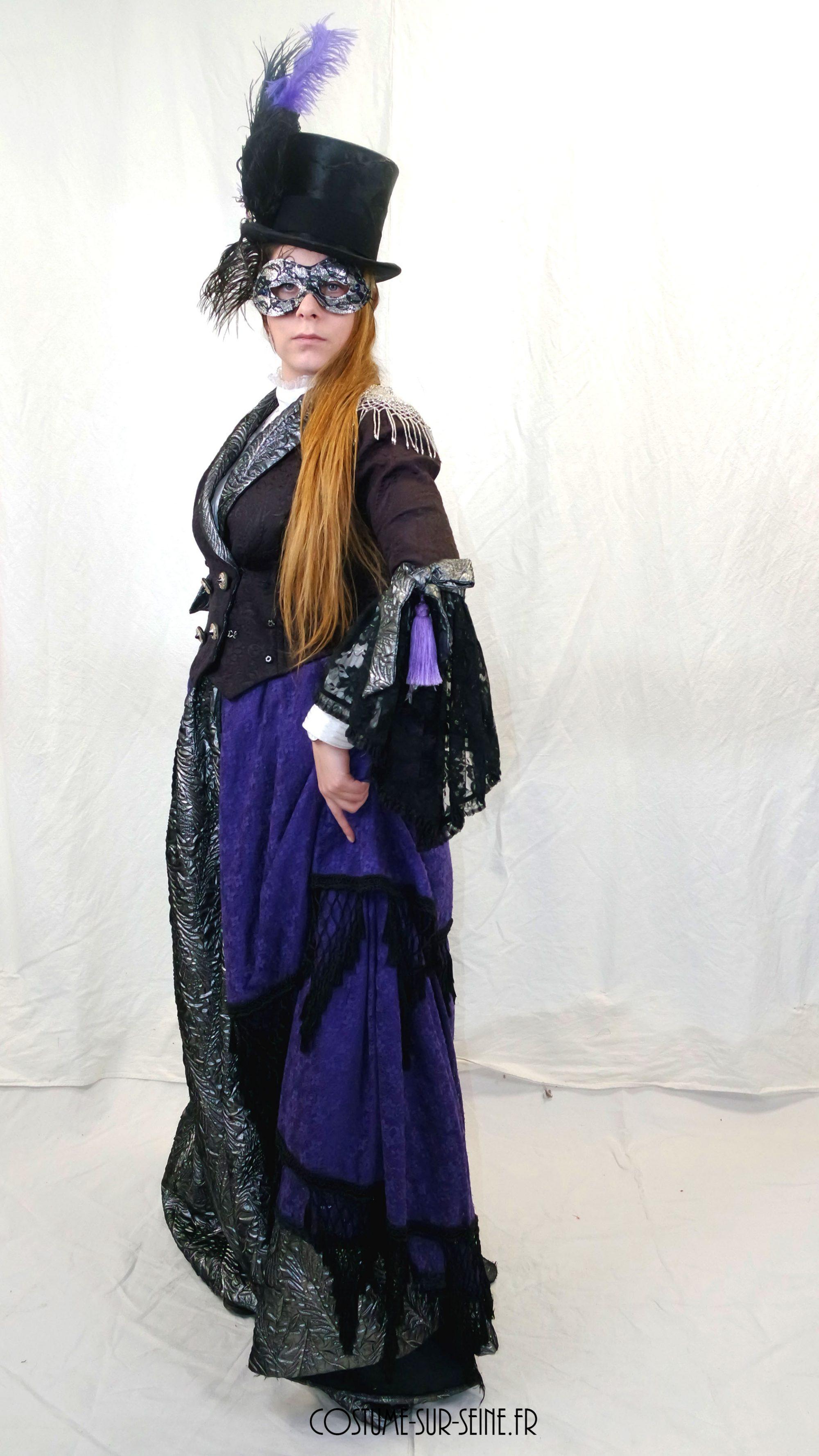 Robe crinoline baroque violette
